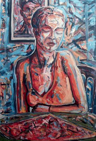 Asztalnál ülő nő III/ Žena koja sedi za stolom III/ Woman sitting on a table III