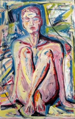 Padlón ülő meztelen nő/ Golišava žena na zemlji/ Nude woman sitting on the floor